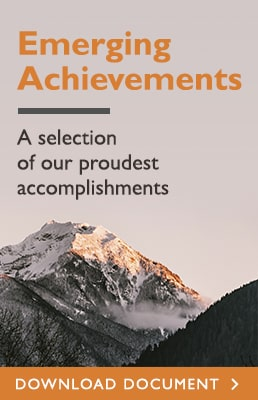 Emerging Achievements - Click here to view a PDF of our proudest accomplishments
